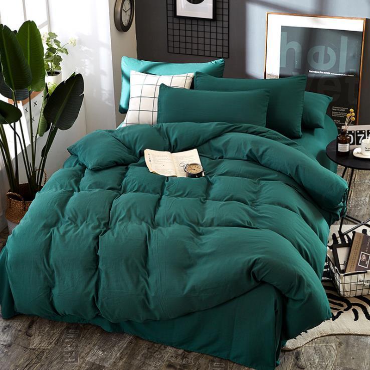 Дизайнер постельного белья мытый хлопок сплошной цвет Single кровать Студент из четырех чехлов Пододеяльник Простыня Наволочки Домашний текстиль 4шт / Set