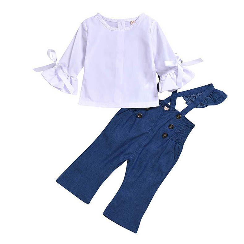 Denim Suspender Skirt Sets 2Pcs Toddler Baby Girls Long Sleeve Striped Tops