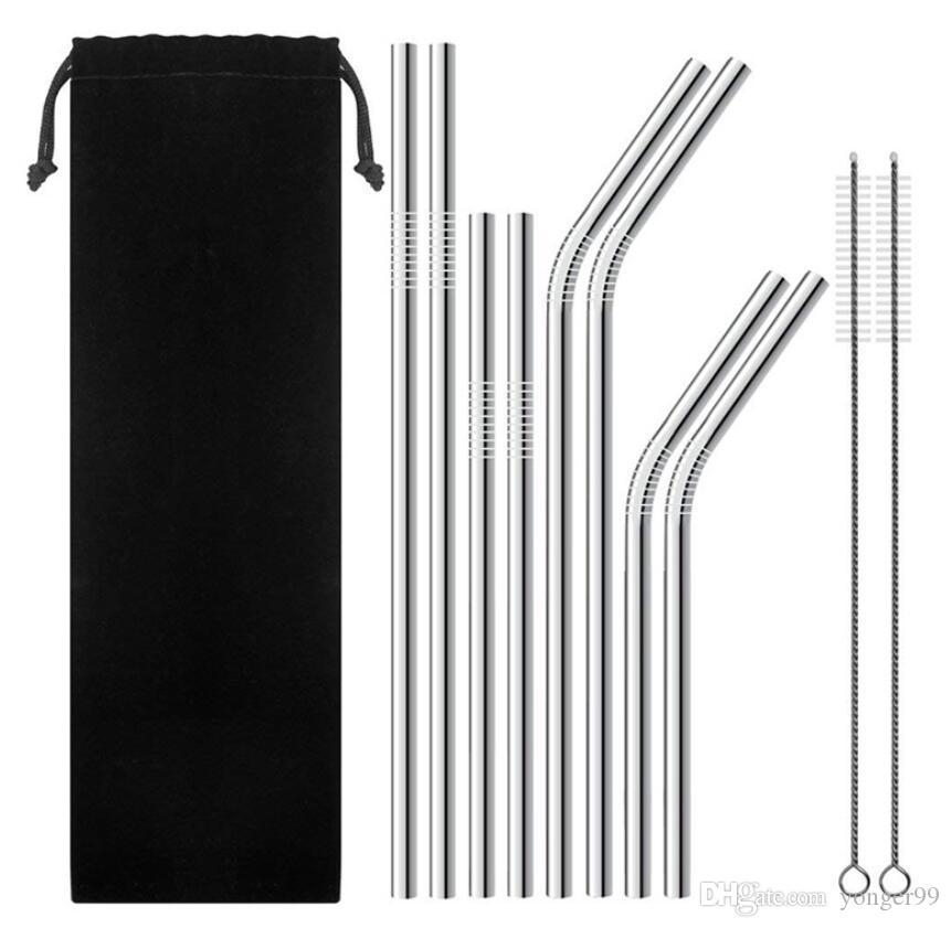 Nova Palha e Escova de Aço Inoxidável Caneta Reutilizável e Metal Reta 10.5 e 8.5 polegada Palhinhas de Aço Inoxidável Extra Longa Palha Beber DHL