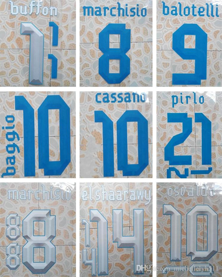Retro Italia impresión fútbol conjunto de nombres BUFFON BALOTELLI BAGGIO Italia jugador estampado pegatinas de fútbol impresionado vintage letras insignias