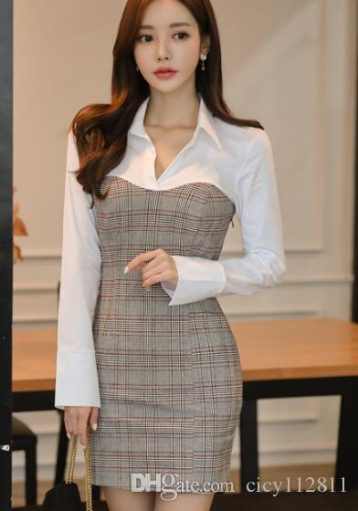 Korean version of the spring and the autumn new office lady stitching slim shirt collar temperament bag hip dress