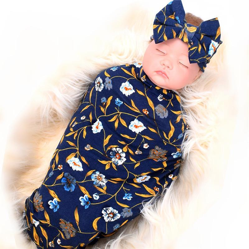 Nouveau né Photographie Props 2018 Nouvelle impression florale du nouveau-né pellicule souple élastique Muslin bébé Couverture mensuel bowknot Set Bandeau