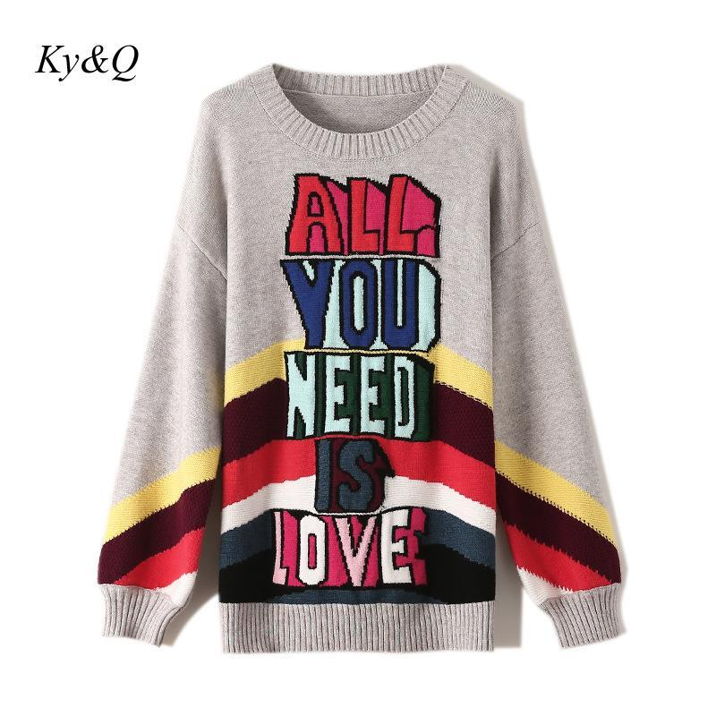 High Quality Hih Street Women Pullover Runway Winter Christmas Rainbow Striped Letters Jacquard Loose Long Sleeve Sweater 2019
