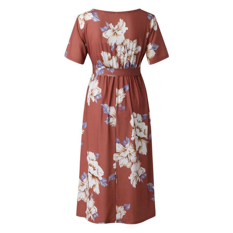 Sommer neue Damenmode Persönlichkeit schön gedruckt kurzärmelige schwangere Frauen stillSpitzeKleid langer Rock