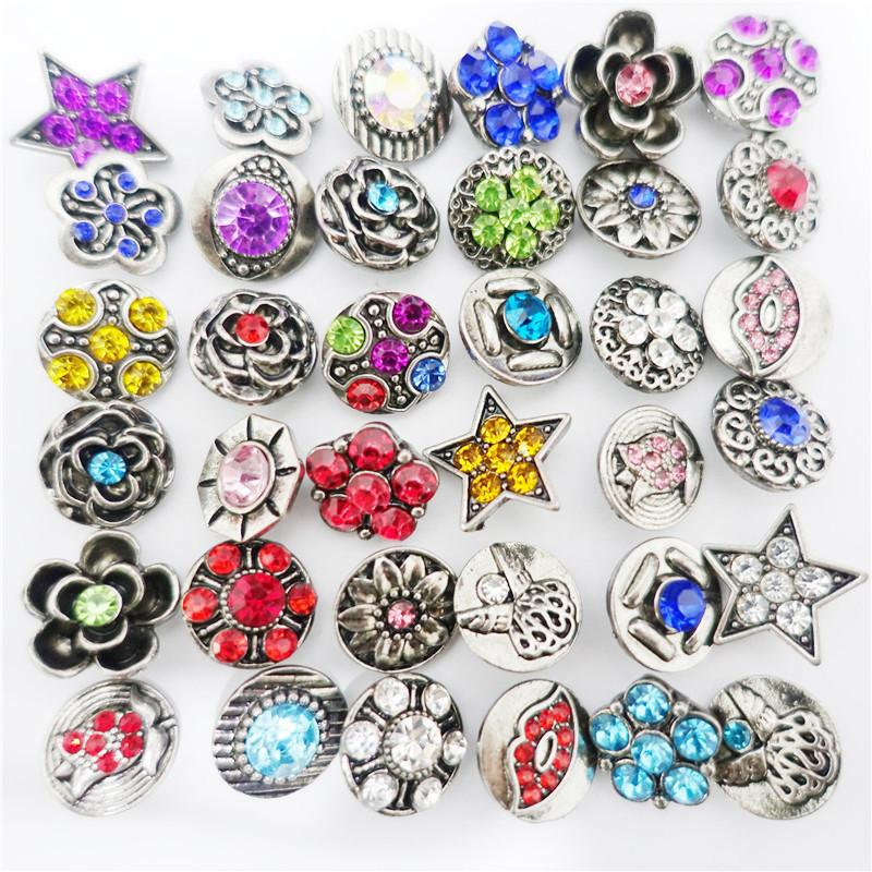 Alloy Snap Buttons 12mm Multiple Collection Antique Silver Plating with Rhinestone Vintage Style Wholesale 100 Pieces / Lot