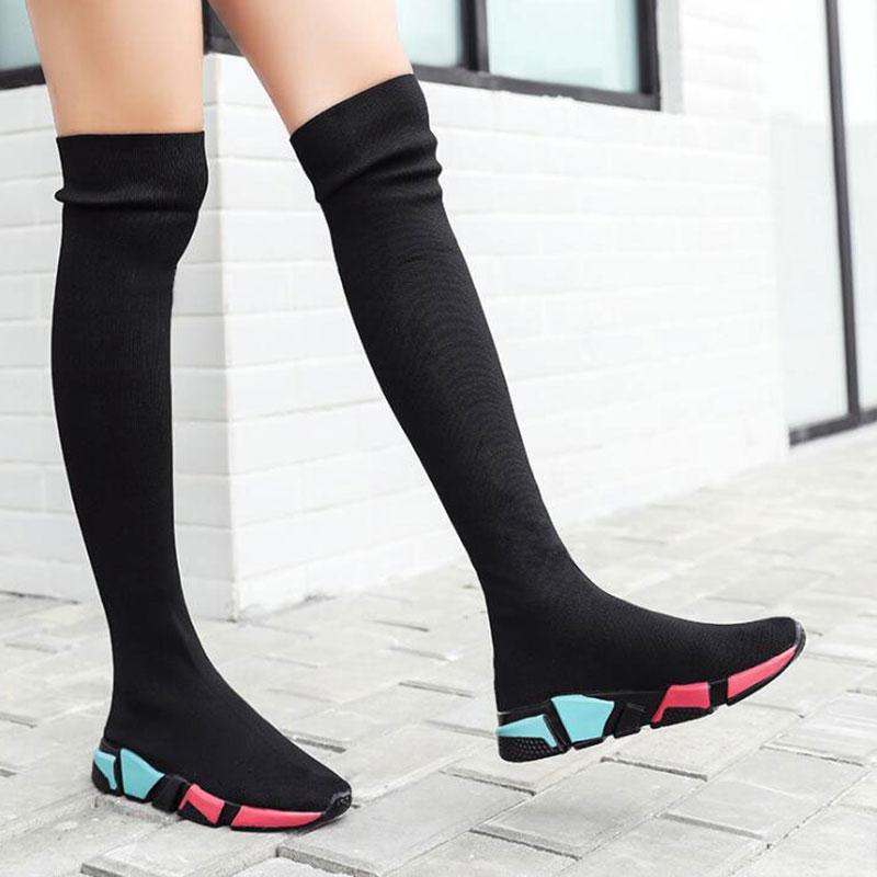 Elástica sobre o joelho Botas Mulheres meias pretas Botas longo Coxa alta Magro Knitting Sneakers Platform longas Shoes