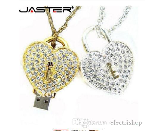 Retail wholesale crystal love Heart Lock Design Necklace Model usb flash drive 4GB 8GB 16GB 32GB 64GB usb 2.0 memory stick pendrive gift