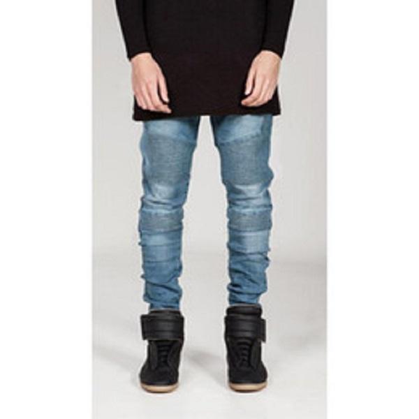 Nuovo Streetwear Mens strappati, pantaloni moto Slim Fit Moda Nero Blu Grigio Moto Denim Biker jeans degli uomini Skinny