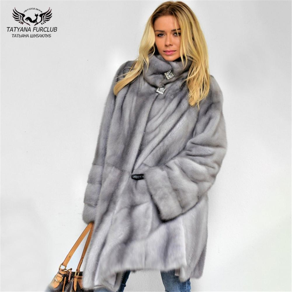 Tatyana Furclub 2019 Brasão de Moda de Nova inverno real casaco de pele com cinto Fur Mulheres Light Gray Mink gola completa roupas de manga