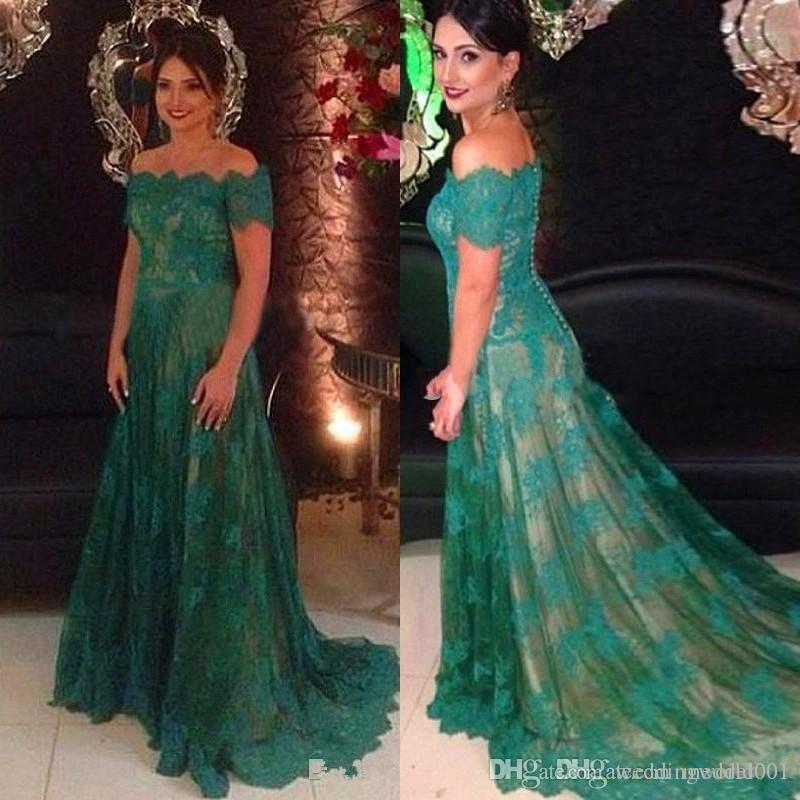 Вечерние платья зеленого цвета с открытыми плечами Кружевные аппликации