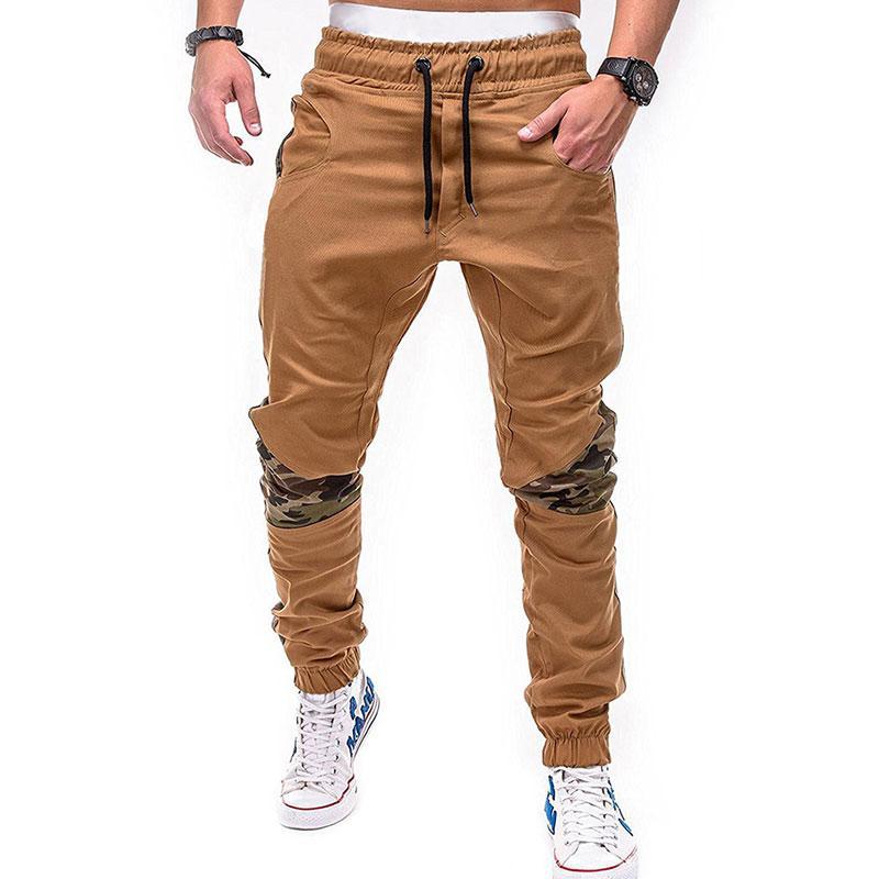 Pantalones pantalones de chándal del basculador con cordón pantalones más el tamaño de moda para hombre de la calle Larga remiendo elástico Hip Hop Casual Pantalón estilo tubo