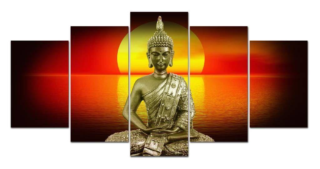 Gedruckt Buddha Bild Malerei Sonnenuntergang Landschaft moderne Wandkunst Dekor für Wohnzimmer Wohnkultur HD Druck Kunst Leinwand kein Rahmen