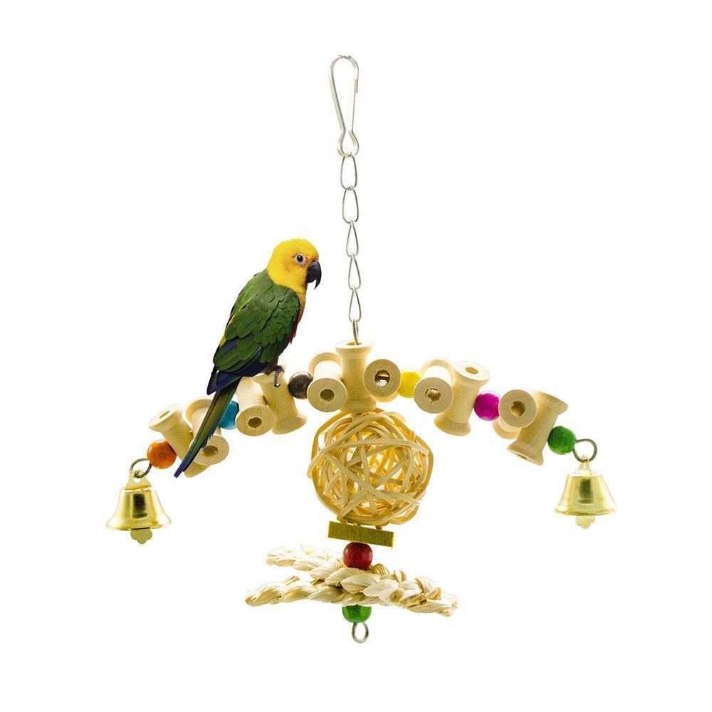 Parrot Gnaw Toys Swing Stand Frame Raw Wood Sepaktakraw Corn Skin Bite Pets Toys Amazon New Pattern
