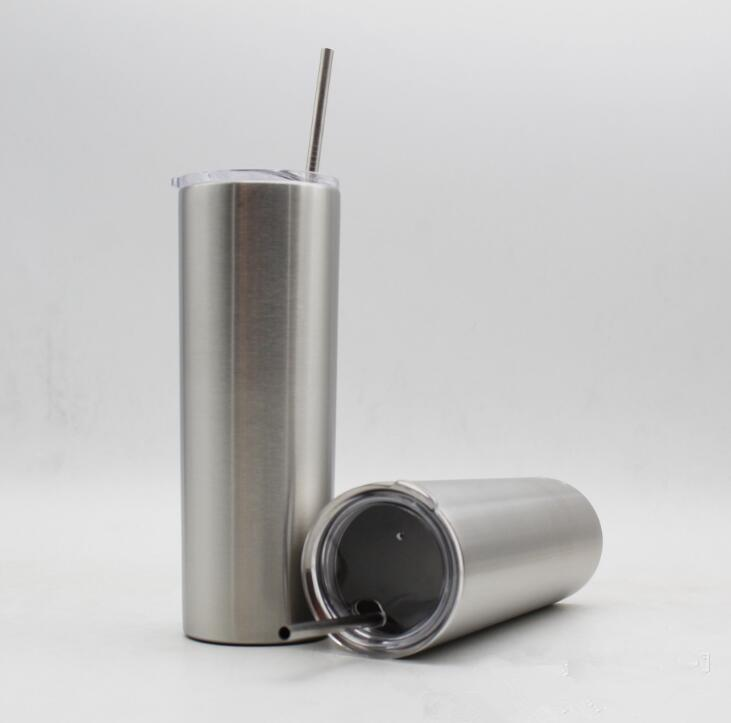 20pcs 20 Unzen Tumbler Strohhalme Gerade Schale 20 Unzen Edelstahl Doppelwand-Vakuum-Isolations-Bier Kaffeetasse Reisebecher