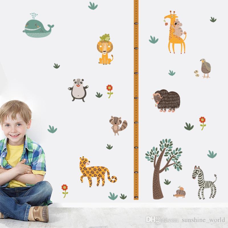 어린이 높이 성장 측정 보육 기숙사 만화 데칼에 대한 얼룩말 기린 동물원 높이 벽 스티커 홈 DIY 바탕 화면 장식