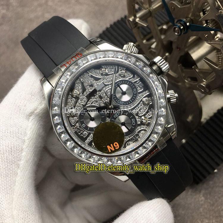 N9 Top versão 116588 TBR 116519 Diamond Dial 7750 Automatic 116509 Mens Watch Bezel Diamante 904L Sapphire Caso Rubber Luxury Sport Relógios