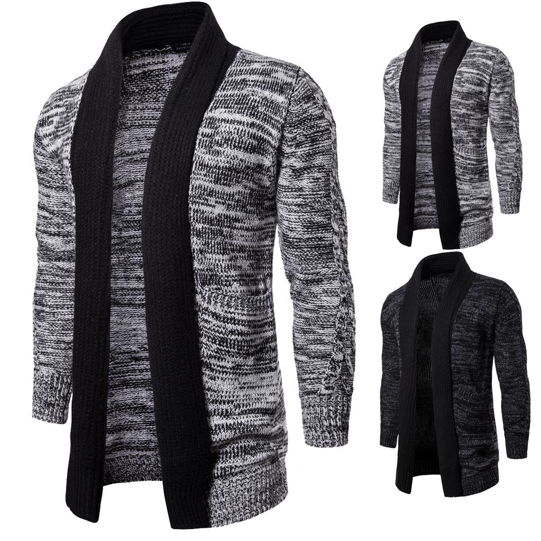Thick Sweater Suéter For men Casual Mid Long Long Sleeve Lapel Neck Knitted Cardigan Men Sweater Slim Winter Pull pour homme J1811184