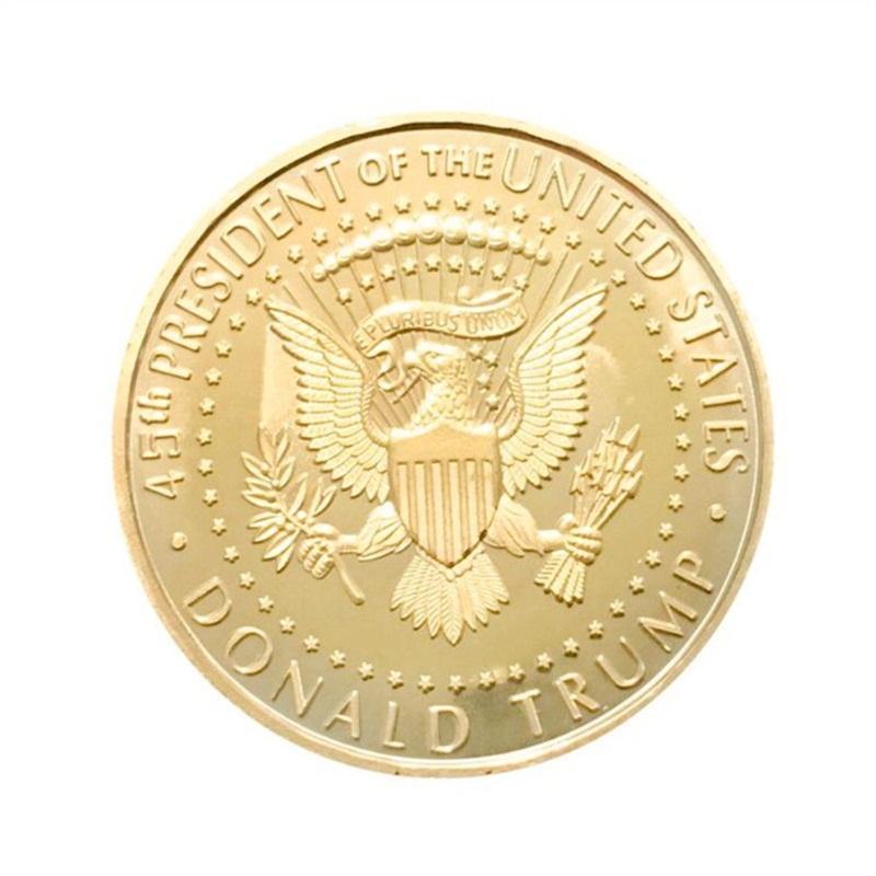 Donald Trump Commemorative Coin Metal US President Collection Eagle Coins America National Flag Souvenir EDC Badge Craft Gold Color 2 3yn C1