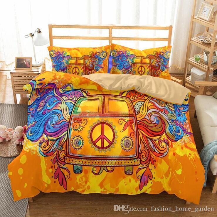 ABD AU Boyutu 3 adet Lüks Yatak Seti Yorgan Hippi Tarzı Yatak Örtüsü Set Kral Boyutları Nevresim Seti yatak Malzemeleri