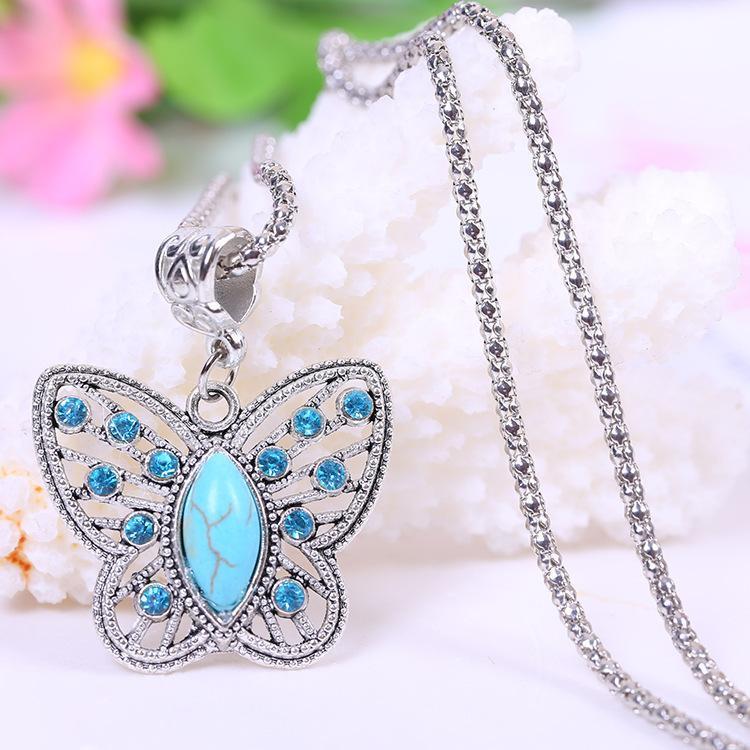 Al por mayor-Verano plata plateado estilo collares colgantes de la manera turquesa de la mariposa collares joyas colgantes tibetanos de la vendimia