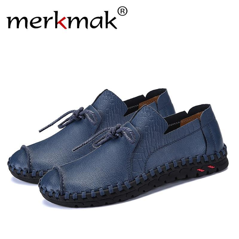 Merkmak British Style Casual Men Loafers Shoes Spring Autumn Genuine Leather Slip On Men's Flats Footwear Plus Size 38-49