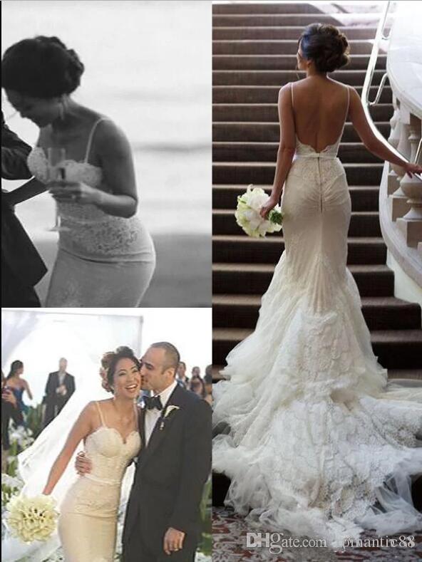 새로운 디자인 2019 인어 웨딩 드레스 스파게티 스트랩 채플 기차 화이트 새틴 아플리케 레이스 등이없는 신부 가운
