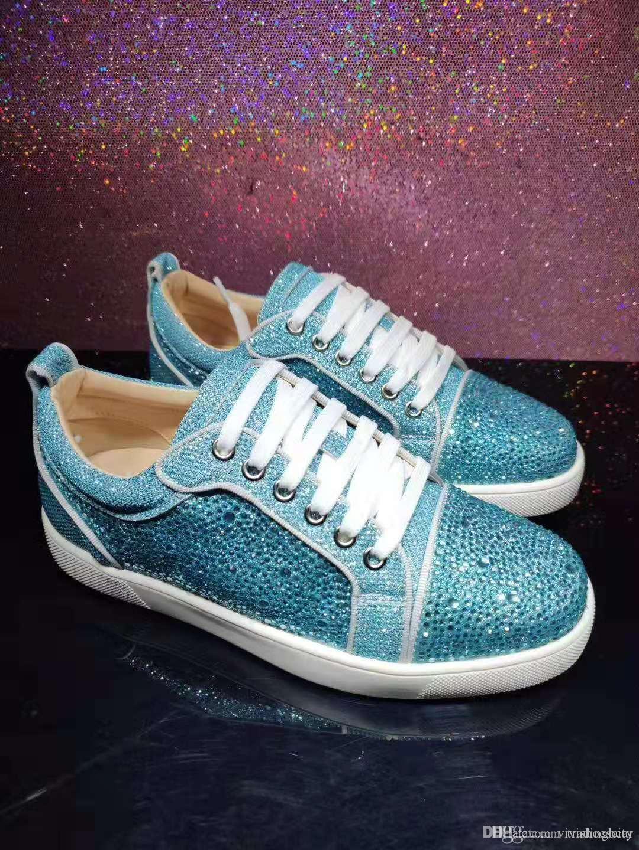 Taglia 35 a 46 Origine pacchetto blu strass Lace Up Arena scarpe vintage inferiore rossa della piattaforma scarpe da donna Mens progettista della scarpa da tennis