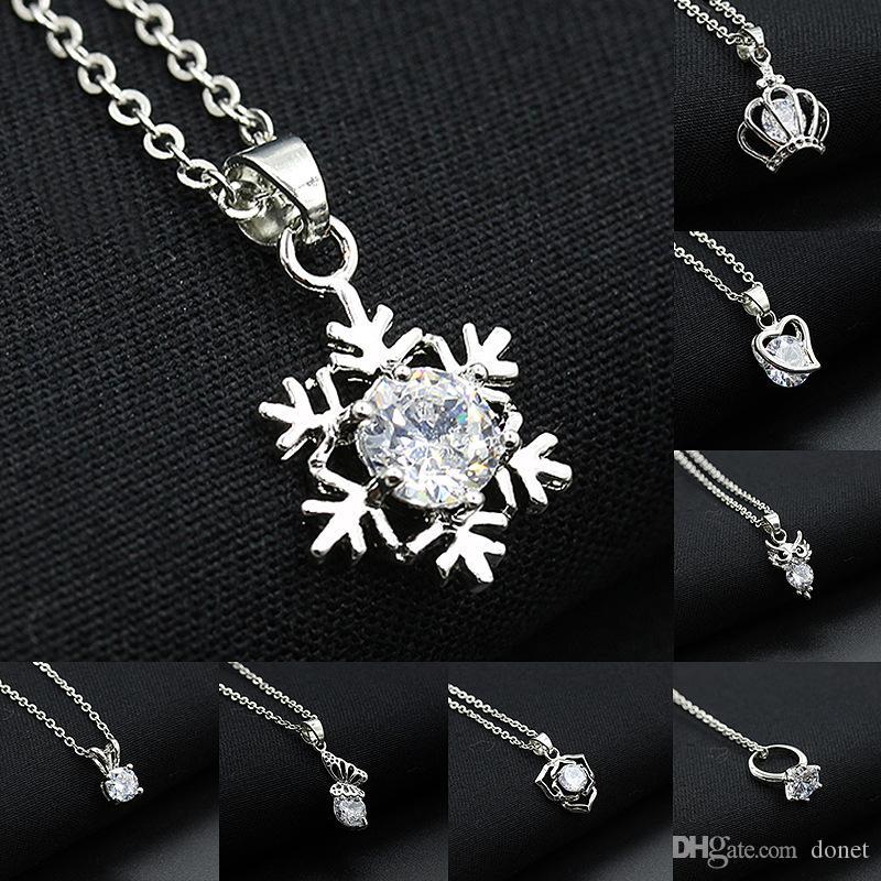 collane ciondolo in cristallo a forma di ciondolo a forma di cuore in argento placcato oro