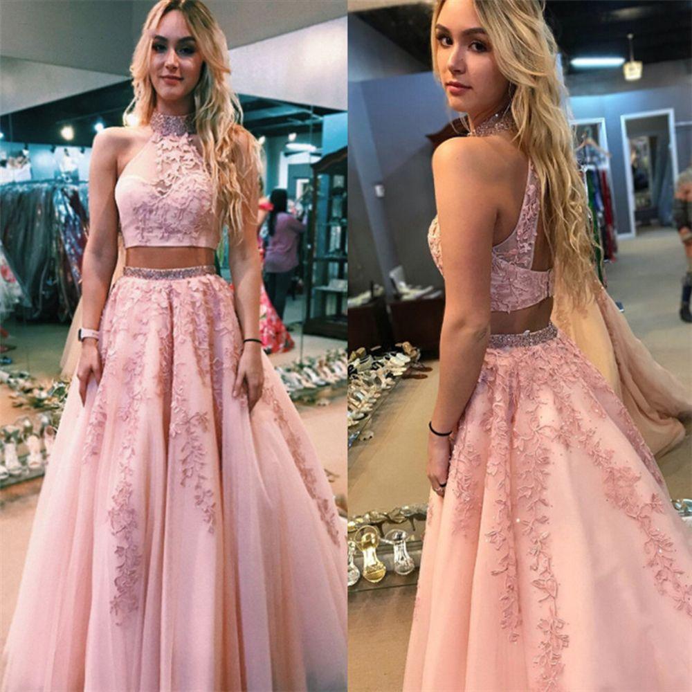 Charming Two Pieces Pink Prom Dresses Beaded High Neck Appliques Illusion A-Line Graduation Party Gowns vestidos de festa 2020