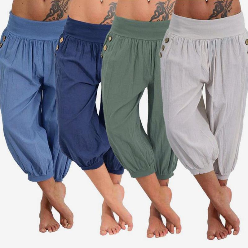 Kadın Artı Boyutu Rahat Harem Pantolon 2018 Sonbahar Kadın Moda Elastik Bel Dipleri Bayanlar Gevşek Katı Cepler Pantolon