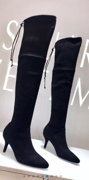 Hot Sale-più nuova alta qualità della nappa delle donne sopra i caricamenti del sistema sexy coscia-alta stivali al ginocchio in pelle genuina tacco a spillo stivali punta a punta di moda