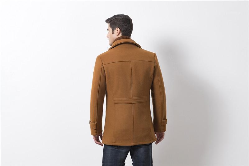 Tops Fashion solide avec double cou homme mince Pardessus Designer Woollen Laines d'hiver épais homme