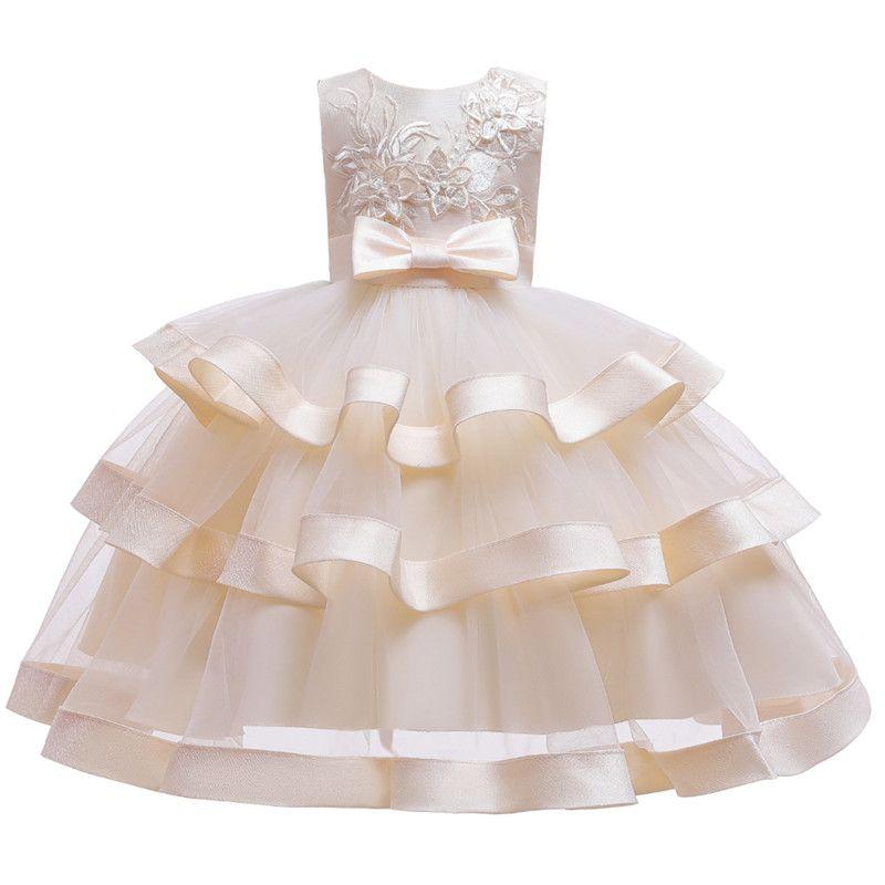 Kız bebekler Çiçek Elbise Elegent Boncuk Tutu Parti Prenses Elbise Çocuk Çocuk Yılbaşı Giyim Kırmızı / Yeşil / Pembe