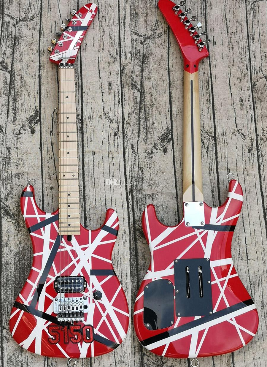 Большой Headstock Kramer Eddie Van Halen 5150 White Black Stripe Red электрогитары Floyd Rose Tremolo Locking Nut, Maple Neck Накладка