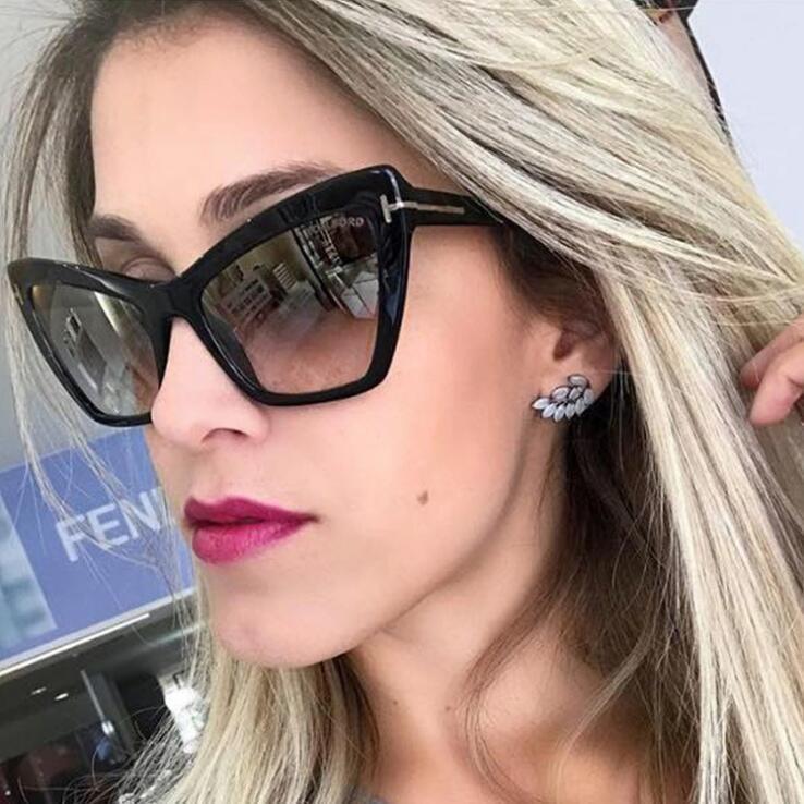 2020 FLT31 Cat Eye Солнцезащитные очки Классический конструктор T Оттенки Eywear ретро Женщины путешествия Большой кадр солнцезащитные очки в стиле ретро Gradient ВС очки óculos