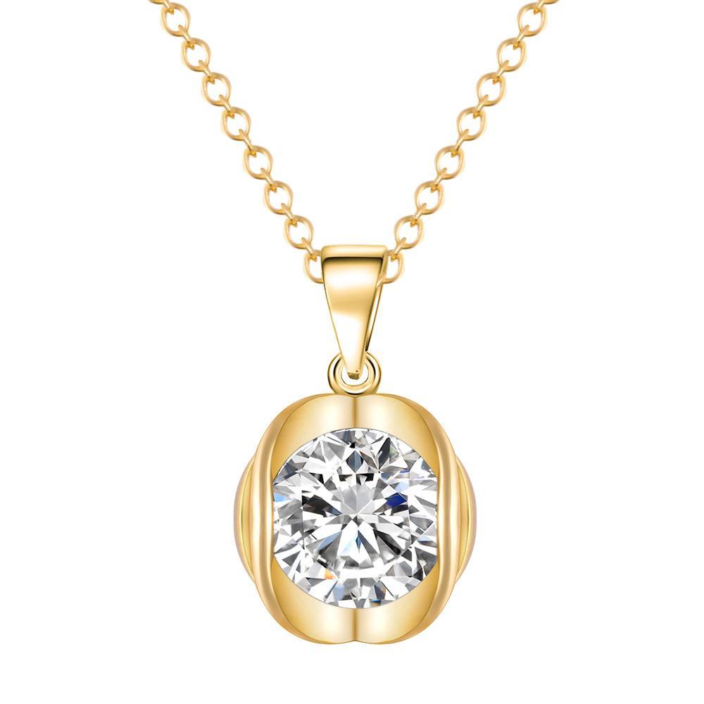 Colliers Or exquis Costume De Mode Bijoux Collier Plaqué Platine Forme Ronde Forme Cubique Zircon Diamant Pendentif Collier
