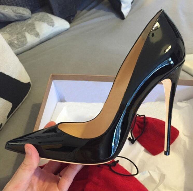 2019 Marca Classic Red Bottom Tacchi alti Ladies Designer Scarpe Donna Kate 8cm / 12cm / 10cm Pelle verniciata Black Nude Heels Pigalle Women Pumps