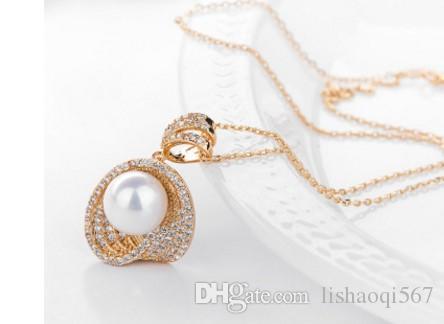 2 pièces / lots chaming diamant cristal perle de dame pendentif collier up-marché produits livraison gratuite 27.9 cc
