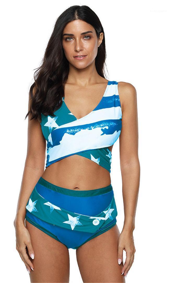 Badebekleidung Sexy Fashion aushöhlen Striped Frauen-Badebekleidung plus Größe Frauen Schwimmen Kleidung Frauen Designer Stern gedruckt