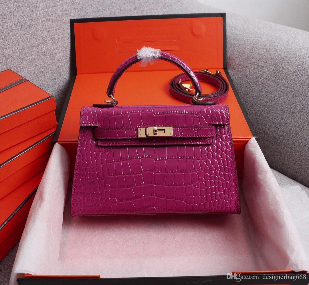 Classic Designer Women Handbags Shoulder Bags Mini Strap Crossbody High Quality Genuine Leather Crocodile pattern Handbag freeshipping 22cm