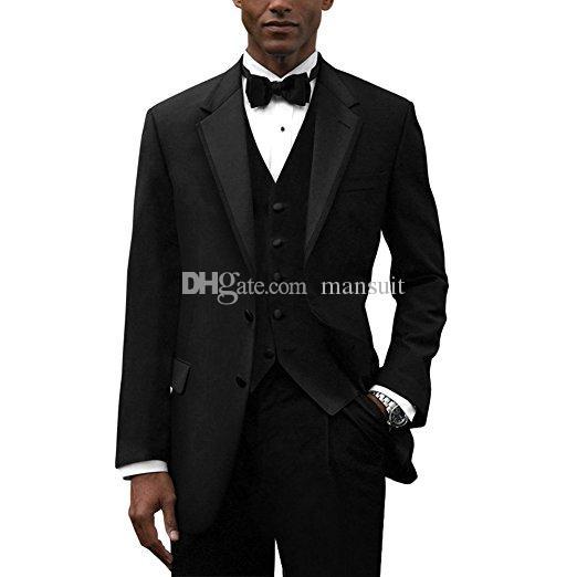 새로운 도착 들러리 노치 옷깃 신랑 턱시도 블랙 남성 정장 웨딩 / 파티 / 저녁 최고의 남자 재킷 (재킷 + 바지 + 조끼 + 넥타이) M1001
