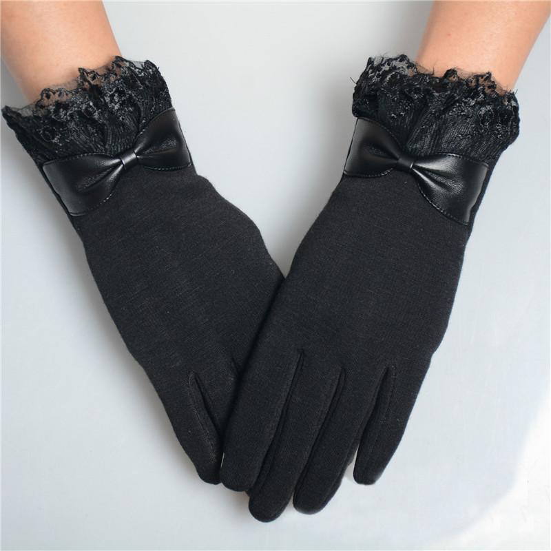 إمرأة أنيقة قفازات أزياء شتاء دافئ قفازات القوس لينة المعصم الرباط القفازات الكشمير قفازات الأصابع كاملة