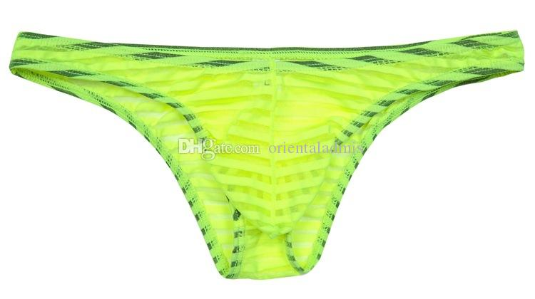 #2013 Free shipping Wholesale sexy gay men's sexy underwear stripes transparent see through mesh gauze Bikini briefs underpants panties