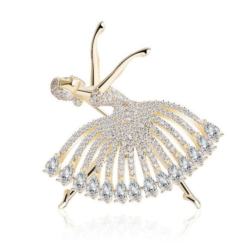 Boutique Blegant Ballet Dancer Rhinestone broche retro pintado cobre menina Anjo Cristal Broche Para Mulheres