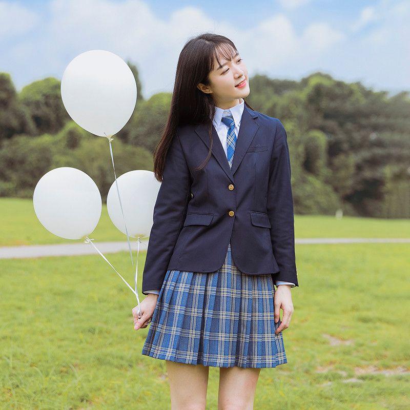 Femmes Robe Blazer Costume Set JK Lycée Uniforme étudiants Fille style preppy Top Outwear Manteau court plissée à carreaux Jupe
