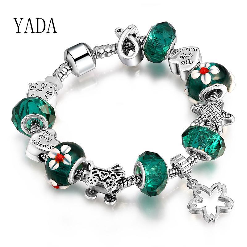 YADA INS Green Flower Bracelets&Bangles silver color Alarm clock For Women Bracelets Charm Crystal Jewelry Bracelet BT200198