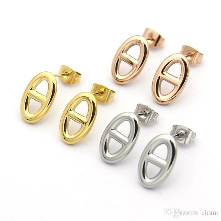 Titanstahl Heiße Buchstabeohrringe der Verkaufsart und weisemarke H für Frauenschmucksachen 18k Gold überzogenes Silber / Rose für Liebhabergeschenk