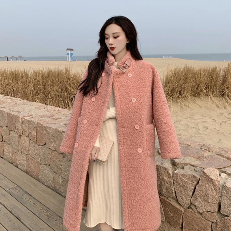 Las mezclas de lana de las mujeres abrigo de lana de cordero sólido mujer invierno cálido grueso de piel sintética chaquetas de piel femenina coreana simple de doble pecho más tamaño