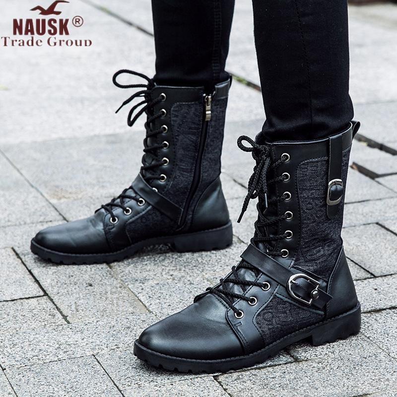 Frühling Herbst Männer lange Stiefel Vintage Black Lace Up männlich Motorradstiefel Punk Round Toe Cowboy Western