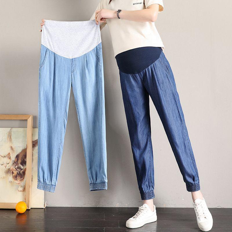Compre Fdfklak Nuevos Pantalones Vaqueros De Maternidad Pantalones Para Embarazadas Pantalones Vaqueros Azules De Las Mujeres Pantalones L 5xl Tamano Extra Grande De Ropa De Maternidad Para Los Pantalones Embarazadas A 21 41